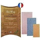 Halton PSC Le Bee Wrap Made in France | Lot de 3 Emballages Cire d'Abeille | Emballage Alimentaire écologique et Réutilisable | 100% Bio et Naturel
