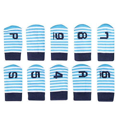 CLISPEED 10 Piezas de Cabezales de Hierro de Golf Cubren Cubiertas de Club de Golf a Rayas con Etiquetas de Número para Accesorios de Golf (Azul)