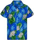King Kameha - Camisa hawaiana para hombre, manga corta, bolsillo frontal, diseño de flores Pequeña flor azul claro. L