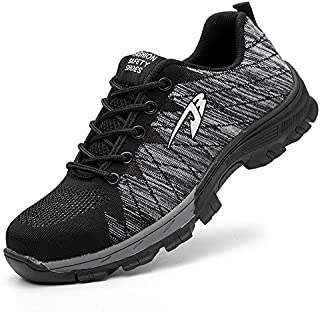 YI XIE Work Safety Shoes Puncture Proofed Footwear Steel Toe Shoes Men,Safety Shoes for Men and Women (6.5, Gray)