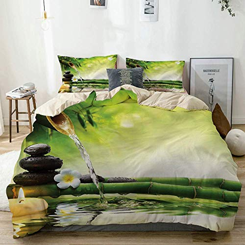 Qoqon Duvet Cover Set Beige,Meditation Stones Bamboo,Decorative 3 Piece Bedding Set with 2 Pillow Shams