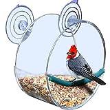 beijieaiguo 1 PC Premium Claro alimentador de Aves Ventana de acrílico Jaula de pájaros Extra Grande Birdhouse Ronda Birdfeeder único con Fuerte da de ventosas de Aves (Redondo)