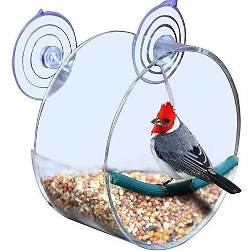 fan pin dian zi Premium-Clear Window Vogelfutterspender Acryl-vogelkäfig-extra Large Biro Einzigartige Runde Voliere Mit Starken Saugnäpfen (rund)