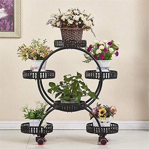 Soporte para plantas de 4 niveles y 6 cestas con ruedas Soporte para plantas de hierro forjado de metal Soporte para flores para interiores, soporte para carrito de jardín y soporte para plantas par