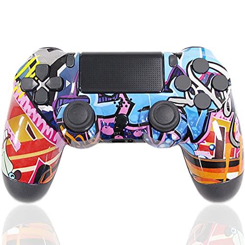 Mando para PS4 Inalámbrico, Controlador de Juegos con vibración Dual Joystick de Juego Conector para Auriculares Sensor de Seis Ejes, para PS4   Pro Slim   PS3