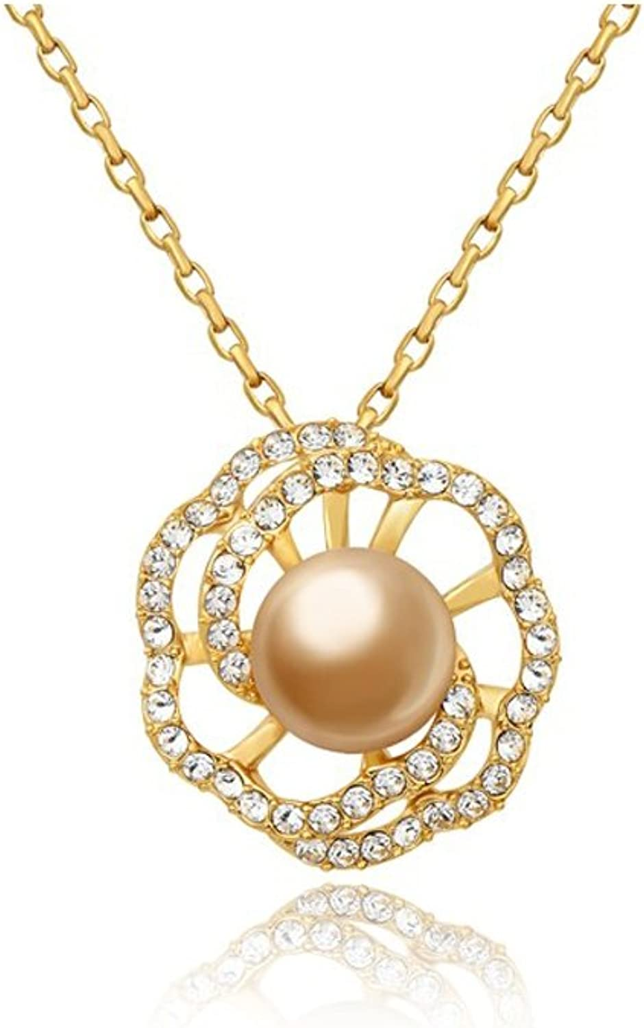 gold Pearl and Swarovski Crystal Elements Flower Pendant and Yellow gold Plated BPS E209 J  bluee Pearls