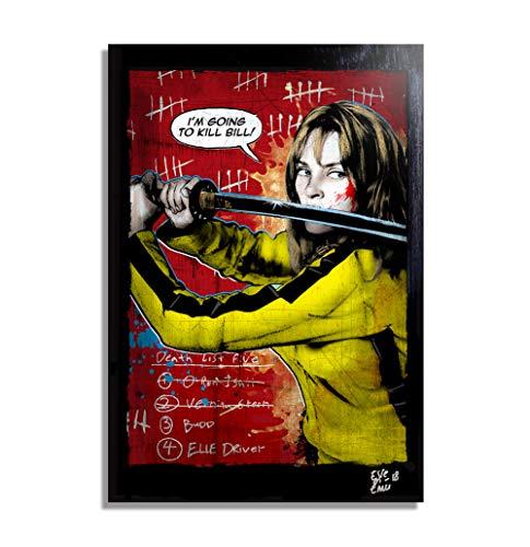 Beatrix Kiddo, Kill Bill (Quentin Tarantino) - Illustration Originale Encadrée, Pop-Art Peinture, Presse Artistique, Poster, Toile Imprimée, Image sur Toile, Affiche d'art, Affiche de Film
