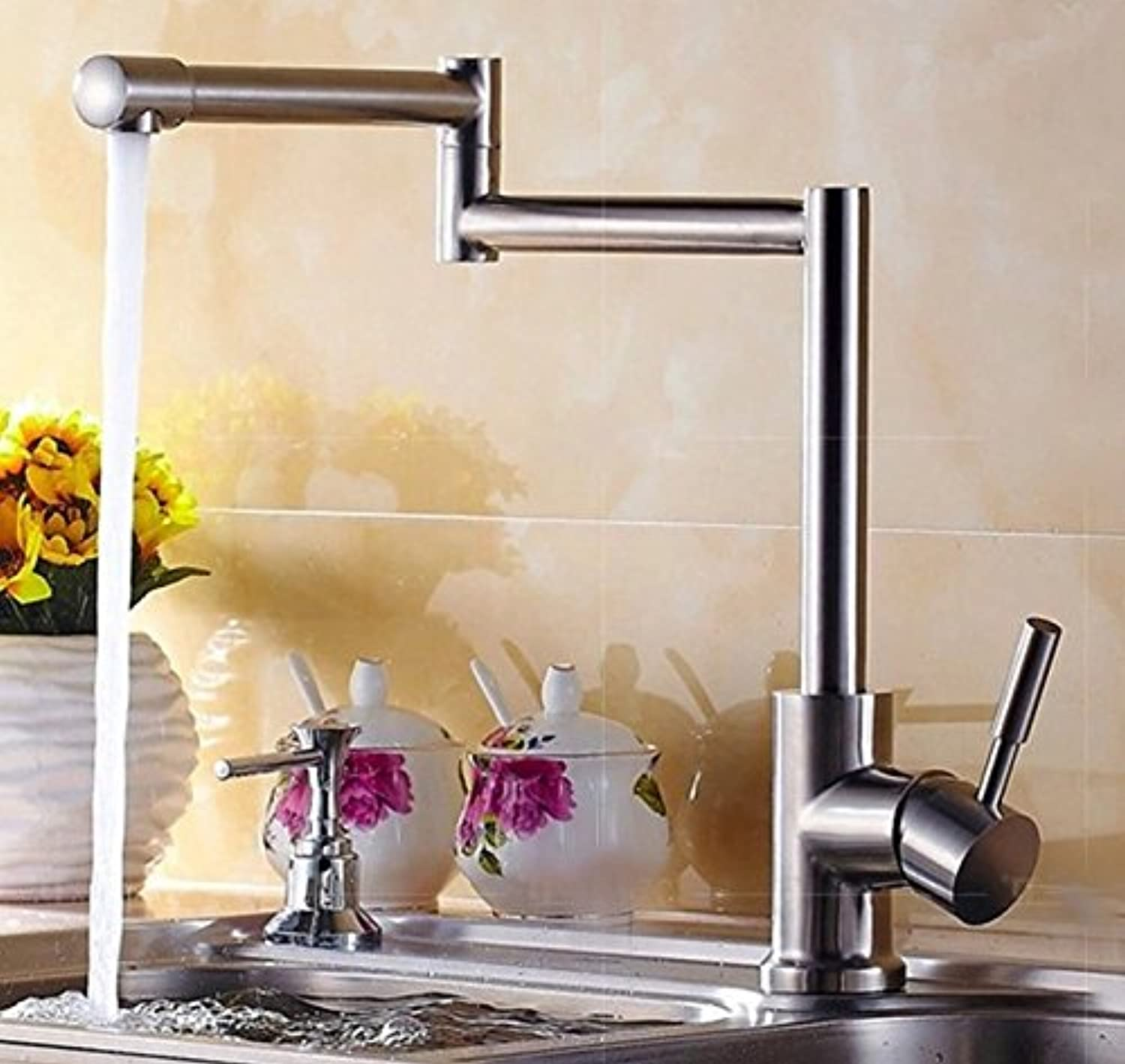 Mangeoo Faucet Cold And Hot Water Mixing Faucet Stainless Steel Faucet Kitchen Folding Faucet Vegetable Basin Drawing Lead