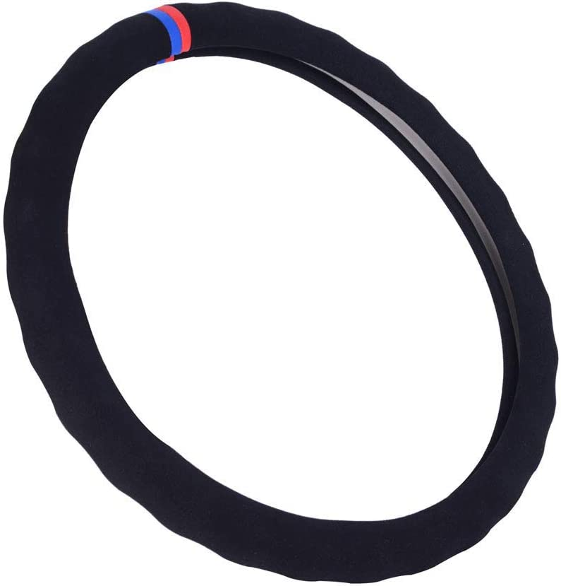 Eiseng Universal Black Suede Auto Car Steering Wheel Cover 15 inch for E39 E46 E60 E89 E70 E90 E92 F10 F30 3 Series 5 Series Z4 X1 X2 Soft-Durable-Bump-Anti Slip-Warm with Red//Bule