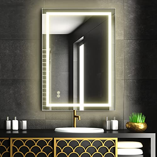 FAUETI Espejo de baño con iluminación LED, 50 x 70 cm, color blanco neutro, 4200 K, espejo de pared con interruptor táctil + antiempañamiento IP44, bajo consumo