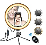 Desktop Ring Light,Gugusure LED O Ring Light with Stand Tripod for Makeup & YouTube Video, LED Camera Light with Cell Phone Holder, Mini Dimmable Lamp with 3 Light Modes & 11 Brightness Level (8 inch)