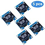 PEMENOL 5PCS OLED Display Module 0.96 InchI2C IIC Serial 128 x 64 OLED LCD Display Module with SSD1306 Driver for Arduino Raspberry Pi and Microcontroller - White Light
