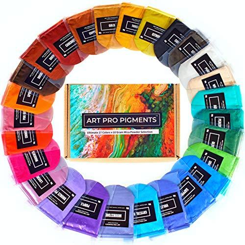 Art Pro Pigments Mica Powder - Brilliant 27 Color Set - Epoxy Resin Pigment Powder - Versatile Colorant for Lip Gloss, Makeup, Soap Making, Bath Bombs, Slime, Candles etc. (10g / 0.35oz Each Color)