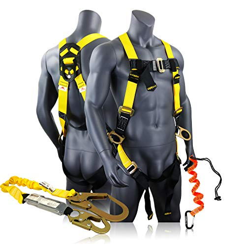 KwikSafety (Charlotte, NC) BOA COMBO | 3D Full Body Safety Harness, 6' Lanyard, Tool Lanyard, Anchor ANSI OSHA PPE Fall Protection Arrest Restraint Universal Construction Roofing Bucket