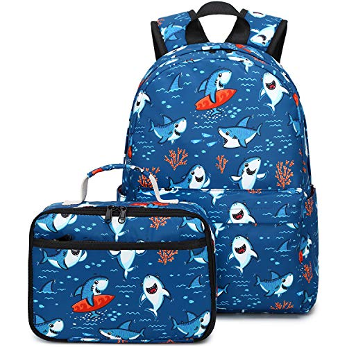 CAMTOP Backpack for Kids Girls Boys School Backpack with Lunch Box Preschool Kindergarten BookBag Set (Y028-2 Shark-Navy Blue)