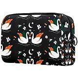 para las mujeres bolsas de aseo cisne patrón negro con cremallera de viaje cosmético organizador de maquillaje bolsa
