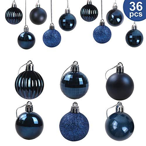 36Pcs Christmas Balls Ornaments for Xmas Tree - Christmas Tree Ornaments - Christmas Decorations - Blue Christmas Tree Baubles Ornaments - Xmas Party Supplies Decorations - Christmas Holiday Decor