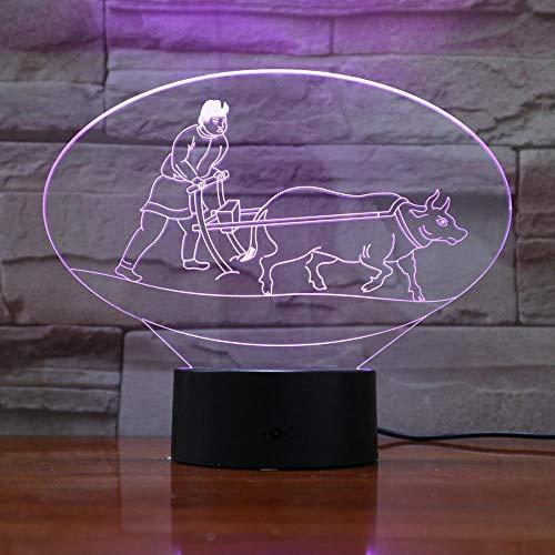 HXFGL Luces de Noche 3D NIU Gengtian Modelado 7 Colores Luz de Noche LED Lámpara de Mesa Decoración de Salón Exquisito Regalo para Niños