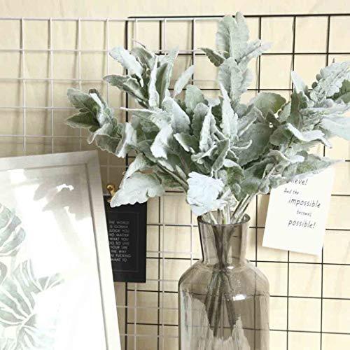 AJFIEF 25 Inch Silk Ear Plant Artificial Flowers, Naturally Dried Silk Lambs Ear Leaf Floral Decor Farmhouse Style Greenery Artificial Silk Leaf For Home Decoration, Wedding (Green)