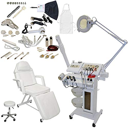 14 in 1 Multifunction Facial Machine Diamond MicroDermabrasion Steamer Magnifying Lamp w/Stationary Bed