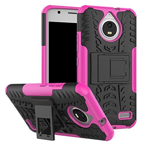pinlu® Etui Schutzhülle Für Motorola Moto E4 (5 Zoll) Handyhülle Hybrid Dual Layer Case TPU + PC Kombination Fall Stoßfest mit Stand-Funktion Reifen Muster Rose Red