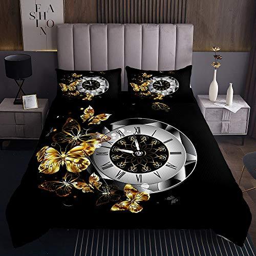 richhome Juego de ropa de cama con diseño de mariposa, doble dorado, reloj de lujo, de microfibra, ultra suave, doble minimalista, mariposa, reversible, juego de ropa de cama de 3 piezas