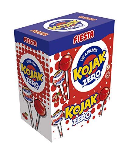 FIESTA Kojak Sin Azúcar Caramelo con Palo Sabor Cereza - Caja de 70 unidades