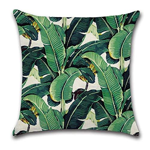 Funda Cojine sofá Decorar Funda Almohada Planta Cojín Tropic Green tree Throw Pillow Cover Flamingo Bird almohadas decorativas flor para sofá Coche coche sofá sala cuarto decor hogar navidad regalo