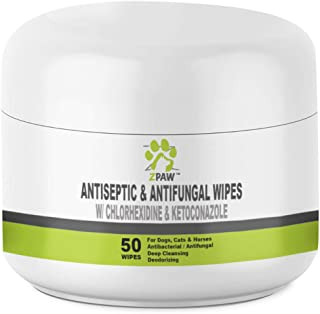 ZPAW Antiseptic Wipes for Dogs Cats and Horses with Chlorhexidine Ketoconazle | Medicated Antifungal Antibacterial Pads Dermatological Treatment Hot Spots Itchy Paws Skin Rashes Dermatitis Ringworm
