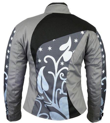 B-07 Bangla Damen Motorrad Jacke Textil Cordura600 Grau gemustert S - 4