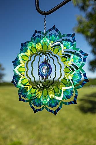 VP Home Emerald Mandala Kinetic 3D Metal Outdoor Garden Decor Wind Spinner