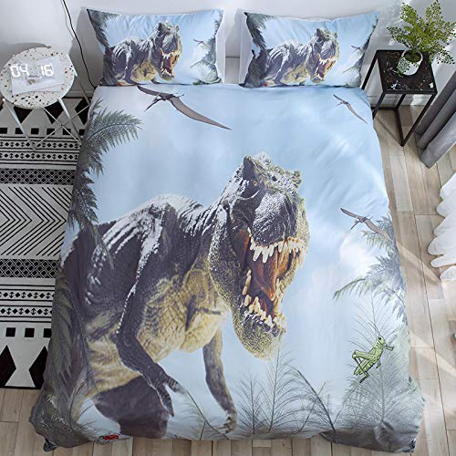 Funda nórdica y funda de almohada con estampado de dinosaurio en 3D, funda de almohada y funda de microfibra suave de fácil cuidado, EU-Single135 * 200cm (juego de dos piezas) Tyrannosaurus 2