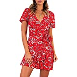 Angle Mini vestido de verano casual de manga corta mini fiesta club vestido de cuello en V con volantes dobladillo playa mini vestido