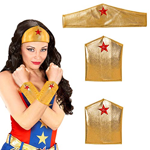 NET TOYS Wonder-Woman Kostüm-Set mit Stulpen & Haarband - Gold - Cooles Damen-Kostüm-Zubehör Superheldin - Ideal für Mottoparty & Karneval