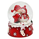Dekohelden24 Schneekugel, Schneemann mit Kind, rot weiß, Maße H/B/Ø Kugel: ca. 8,5 x 7 cm/Ø 6,5 cm.