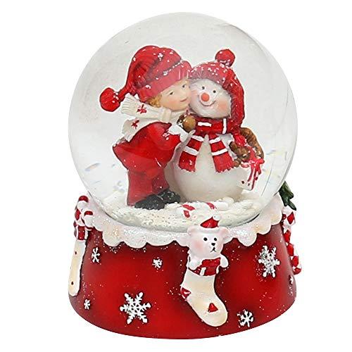 Dekohelden24 Bola de nieve, muñeco de nieve con niño, color rojo y blanco, dimensiones de la bola: aprox. 8,5 x 7 cm / diámetro 6,5 cm.