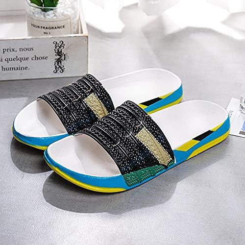 ShSnnwrl Zapatillas de Moda para Hombre con Estampado Colorido, Zapatos de Playa cómodos Antideslizantes, Zapatillas Casuales para Hombre, 42 Green-2021