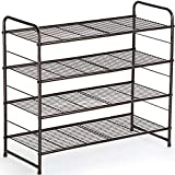 Auledio 4-Tier Shoe Rack,Stackable and Adjustable Multi-Function Wire Grid Shoe Organizer Storage,Extra Large Capacity, Space Saving, Fits Boots, high Heels, Slippers and More(Bronze)