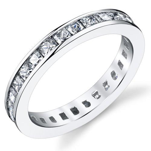 Ultimate Metals Co. 3MM Damen Sterling Silber 925 Verlobungsring,Ehering Mit Prinzessin Schnitt Zirkonia Bequemlichkeit Passen,Größe 47