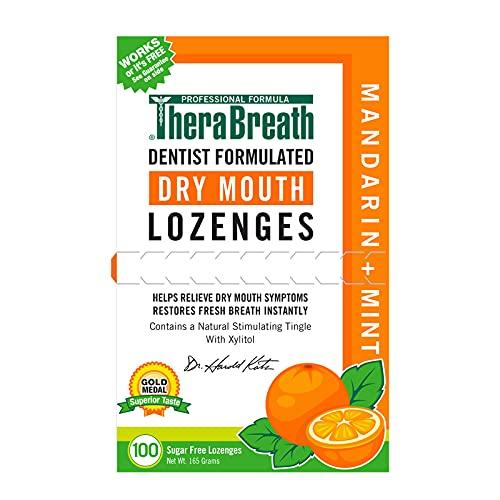 TheraBreath Dry Mouth ZINC Lozenges, Mandarin Mint Flavor, 100 Lozenges