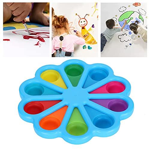Paleta de pintura, forma de flor de bandeja de mezcla de colores para acuarela Gouache para niños estudiantes