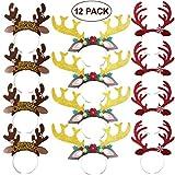 Amosfun Christmas Reindeer Antlers Headband Reindeer Headband with Ears Xmas Headwear Accessories for Christmas Easter Masquerade Cosplay Party Gift 12-Pack