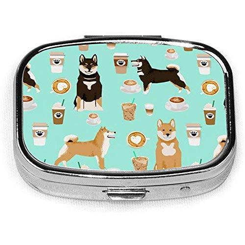 Shiba Hund Kaffee drucken Hund und Kaffee benutzerdefinierte Mode quadratische Pille Box Tablet-Halter Tasche Geldbörse Organizer Fall Dekoration Box