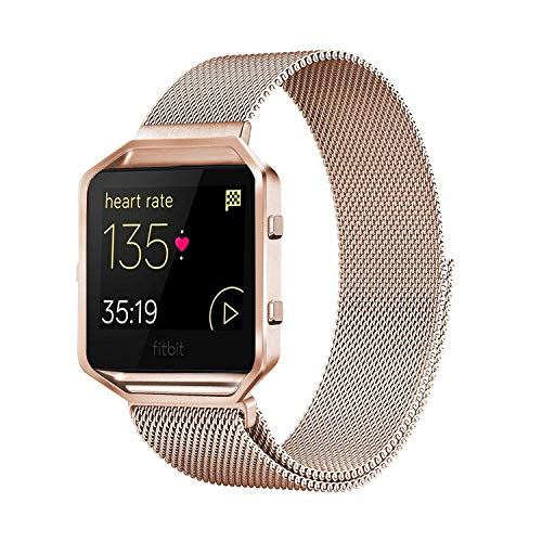 Akale Metal Band Compatible with Fitbit Blaze, Small and Large Stainless Steel Band with Metal Frame Replacement Strap Wristband for Fit bit Blaze Smart Fitness Watch, Women Men(Rose Gold Large-A)