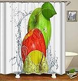 LGY Grüner Apfel. Roter Apfel. Gelber Apfel. Duschvorhang. Badezimmerzubehör. Wasserdicht. Enthält 12 Haken. Duschvorhangstangenringhaken. Hintergr&. Party. Wohnzimmer.