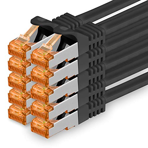 1aTTack.de 0,5m - Cat.7 Netzwerkkabel Schwarz - 10 Stück Gigabit Ethernet LAN Kabel 10000 Mbit s Patchkabel Cat7 Kabel S FTP PIMF Schirmung LSZH Cat.7 Rohkabel Rj45 Stecker Cat 6a - 10 x 0,5 Meter