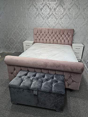 AJT Luxury Style Embroidery Work Chesterfield Bed (Multi Color) (Double Bed, Fuchsia)