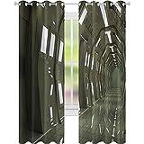 cortinas de bloqueo de luz, Space House Sci Fi Inspirado Ambiente Perspectiva Robótica Subterránea Display, W52 x L72 Cortinas opacas para dormitorio, Verde Ejército