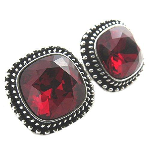 Lily-Crystal [P7542] - Clips artisanales 'Bohème' rouge argenté - 17x17 mm