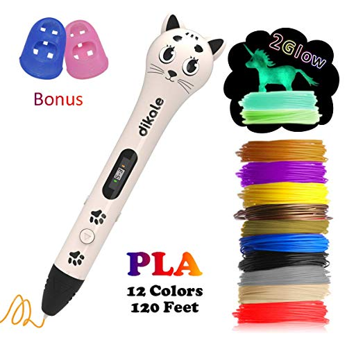 3D Pen with PLA Filament Refills - Dikale 05A【Kitten Shaped Deapesign】3D Drawing Printing Printer Pen Bonus 12 Colors 120 Feet PLA 250 Stencil eBook for Kids Adults (White)